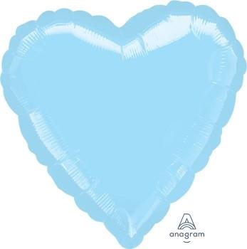 Anagram Folienballon Herz 45cm Durchmesser Metallic Pearl Hellblau (Metallic Pearl Pastel Blue)