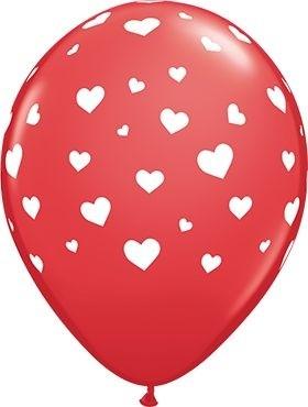 "Qualatex Latexballon Random Hearts Red 28cm/11"" 6 Stück"