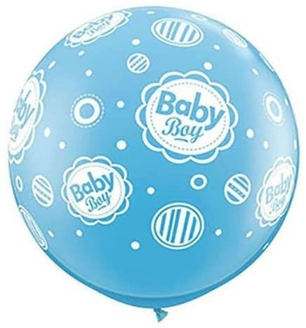 Qualatex Latexballon Baby Boy Dots-A-Round Blau 90cm/3' 2 Stück